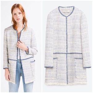 ZARA Frayed Tweed Cotton Coat Jacket, Blue & White